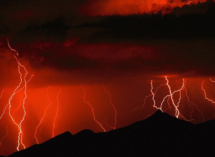 Orange lightning storm