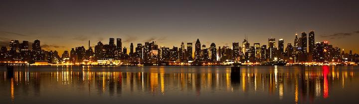 The new york city skyline just before sunrise december 17  2011