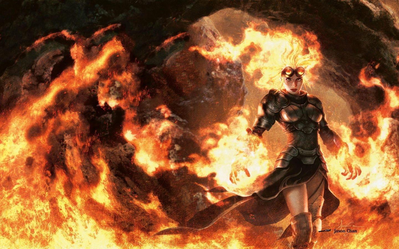 Women flames fantasy mage fire orange magic the gathering glasses armor goggles magic sorcerer sorce  900x1440