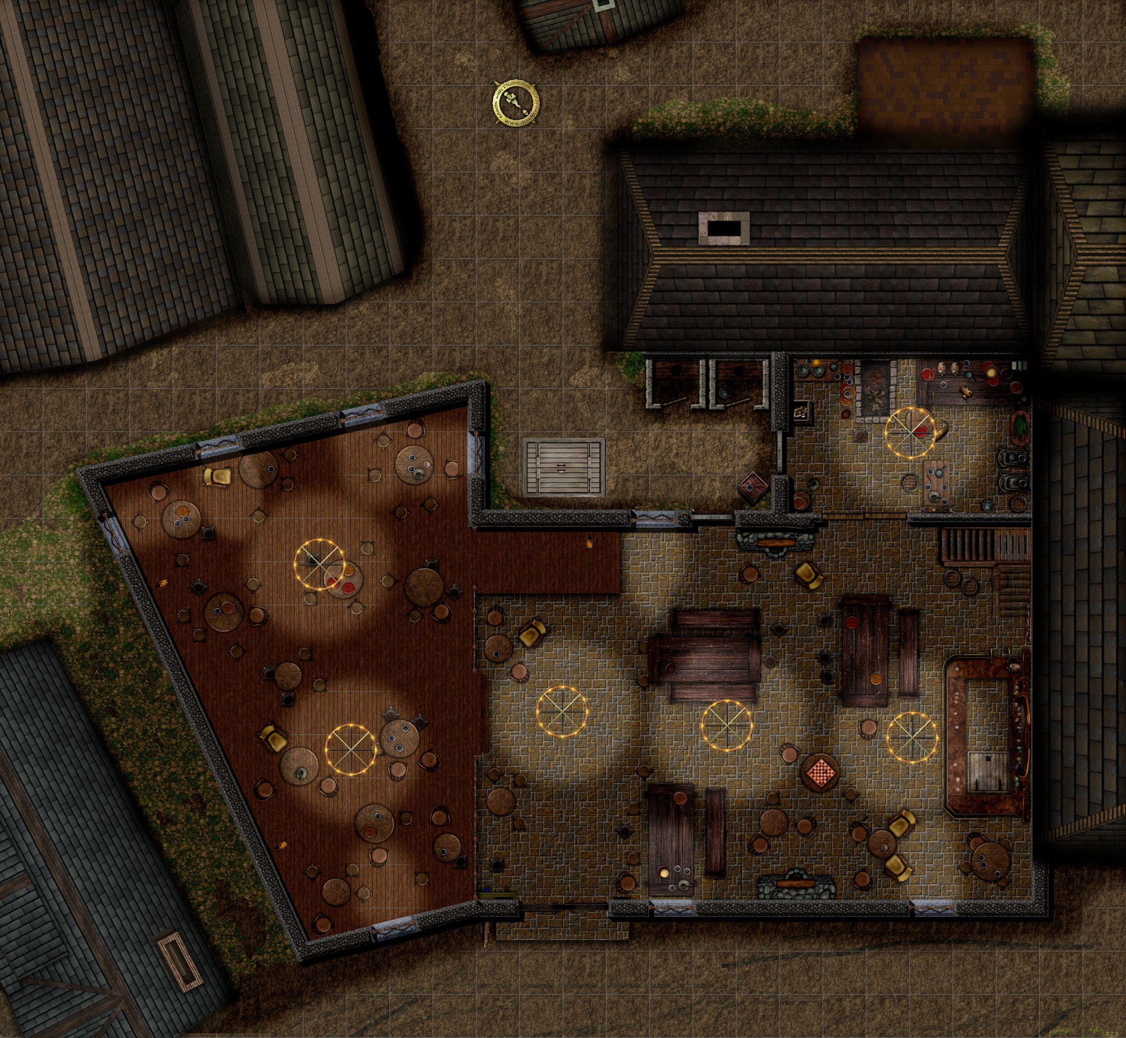 Rusty dragon inn ground floor with grid downscaled