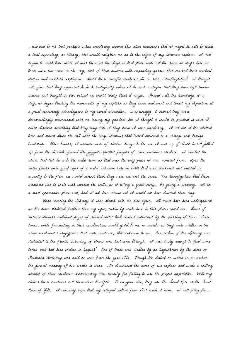 Peaslee manuscript exerpt