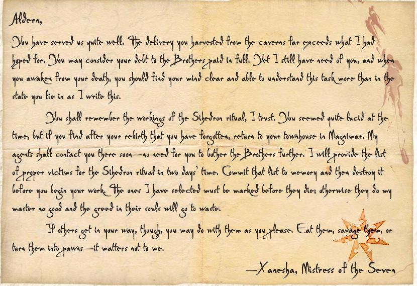 Aldern mistress note