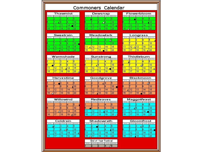 Calendar wilderlands