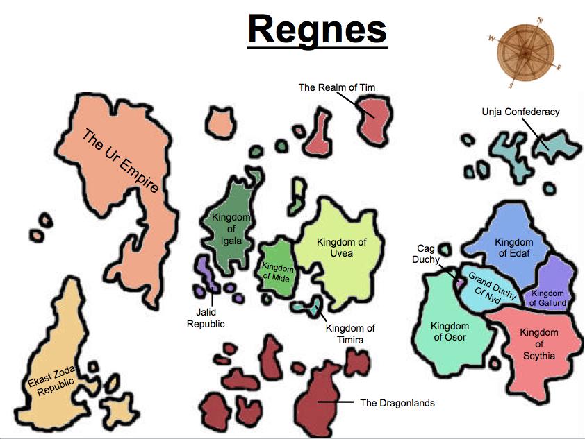 Regnes political map labeled