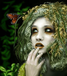 Dryad girl by evening sky