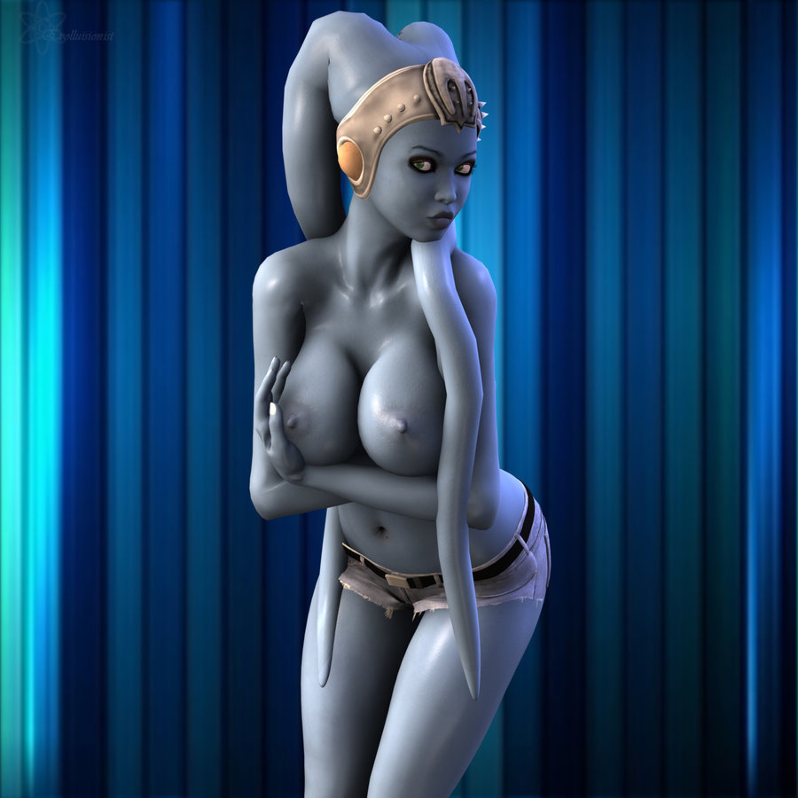Busty in blue by evolluisionist d34benf