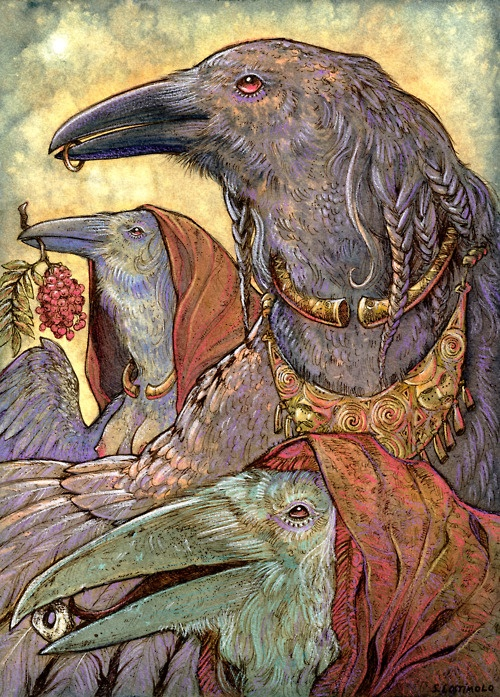 Celtic raven triple goddess by stephanie lostimolo.