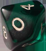Green d10 dice