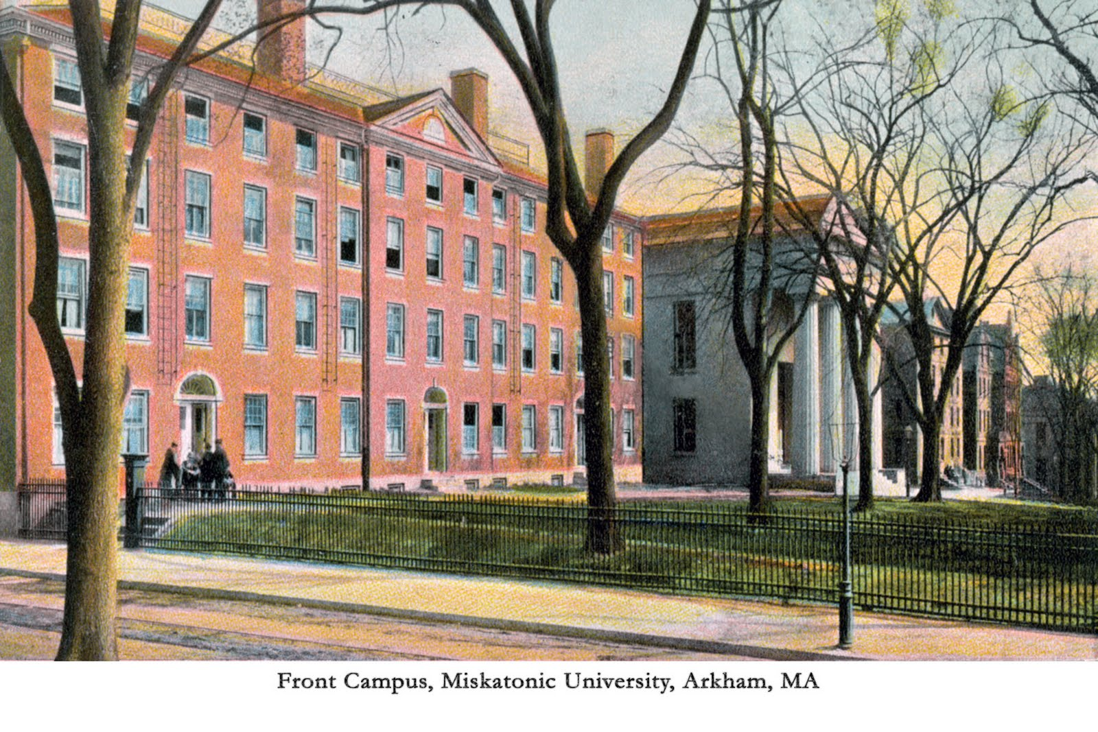 Miskatonic university front campus view
