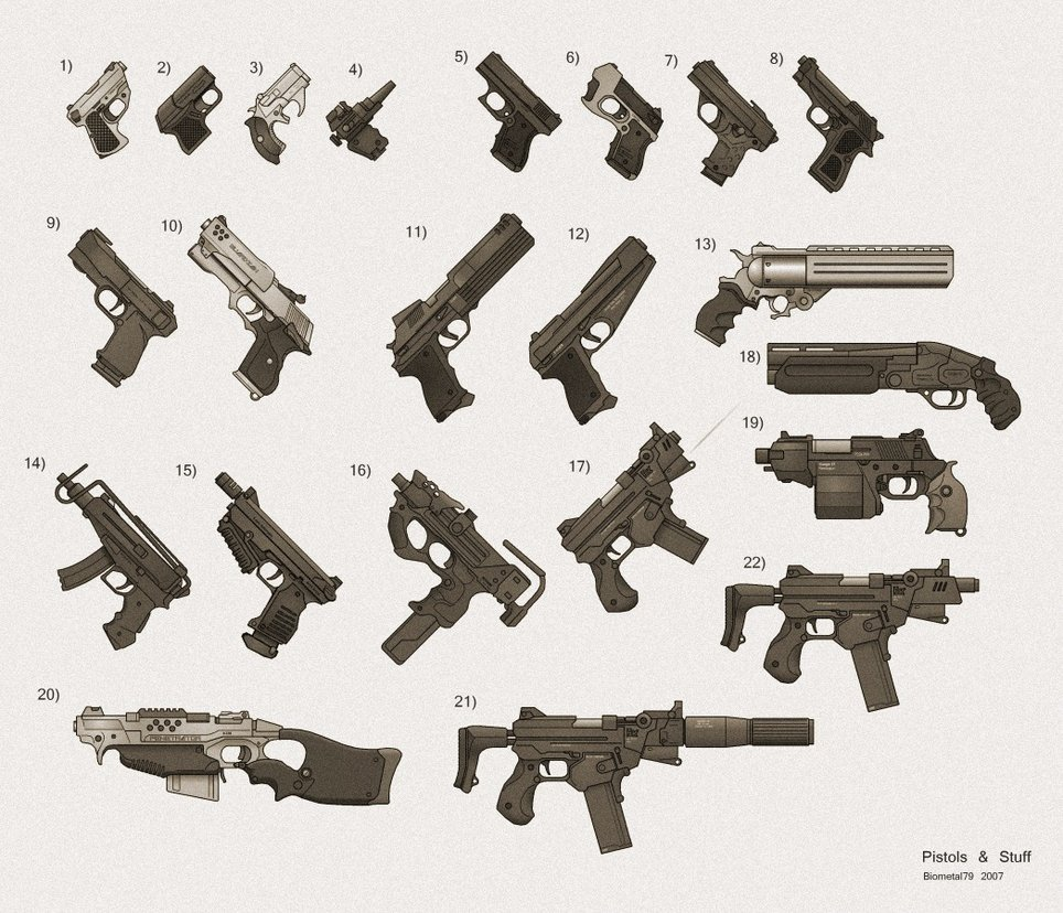 My shadowrun gun collection 1 by biometal79
