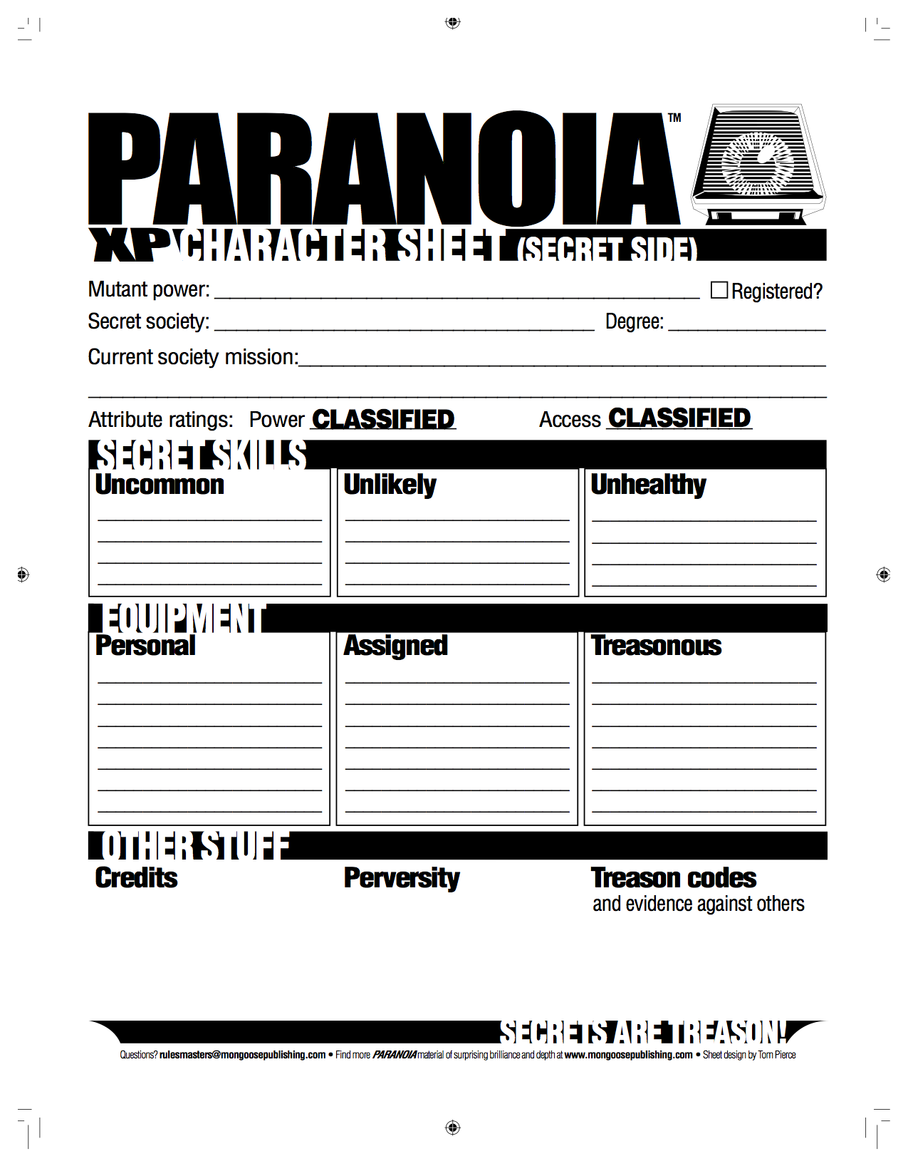 Paranoia xp   character sheet back