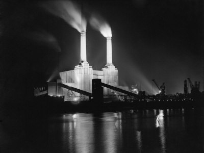 Battersea power station lit up at night 1951
