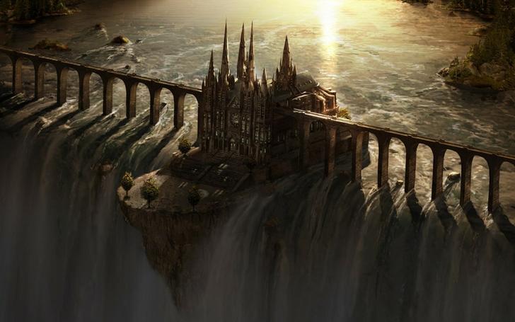 Castles bridges fantasy art dam artwork waterfalls 1280x801 wallpaper www.wallpapermay.com 18