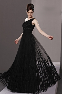 Dramatic black one shoulder empire beaded pleated a line wedding guest prom dress 1 thumb