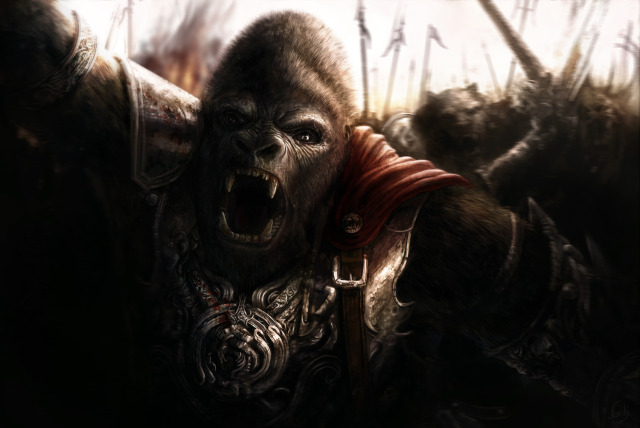640x428 15521 gorilla 2d fantasy gorilla warrior picture image digital art