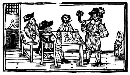 Tavern scene woodcut1