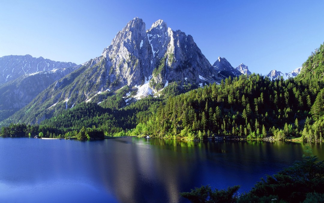 The mountain overlooking Crystal Water Lake within the Elder Mountains