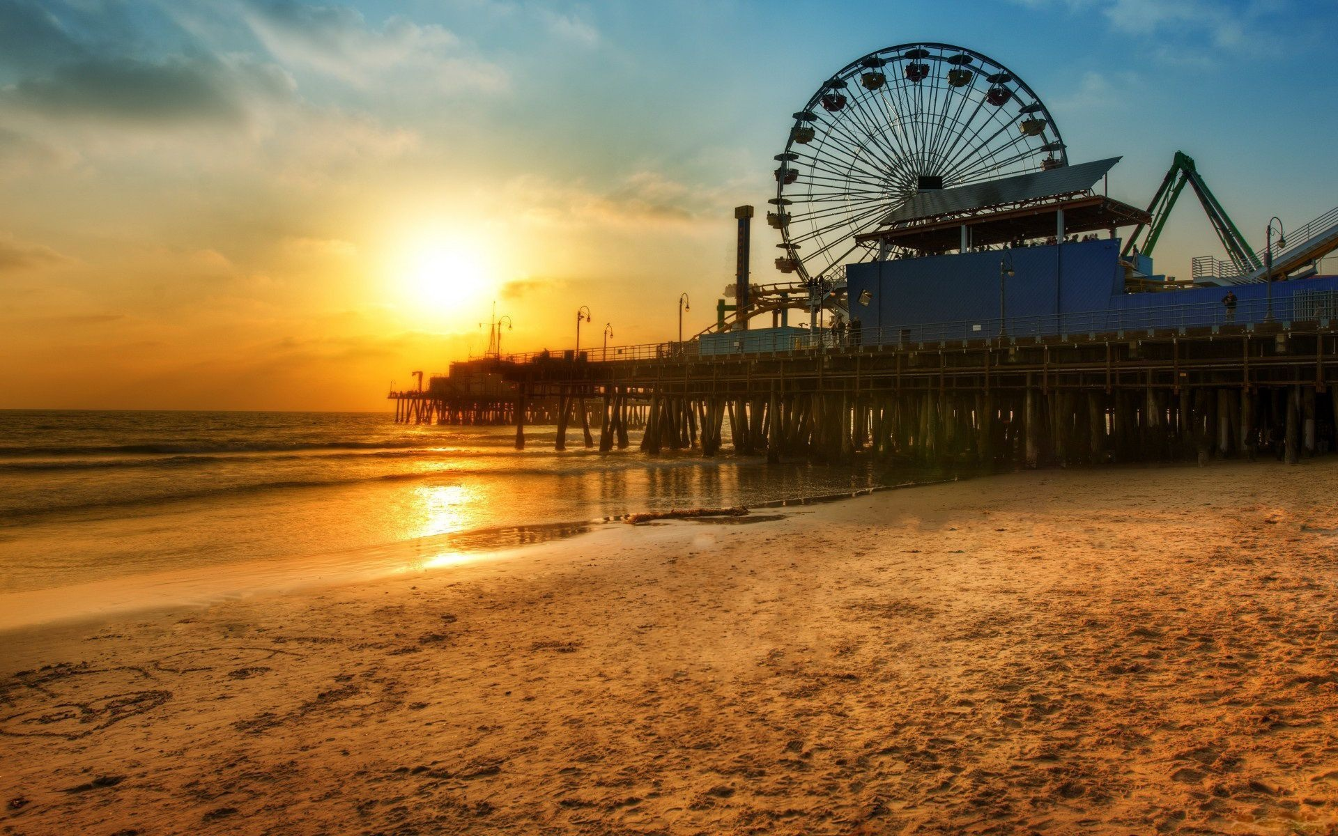 Los angeles dock ferris wheel beach sunset