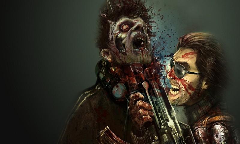 Zombie killed by machine gun horror blood wallpaper 800x480