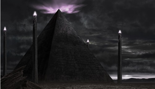 Alien entities abduct and take man to black pyramid image