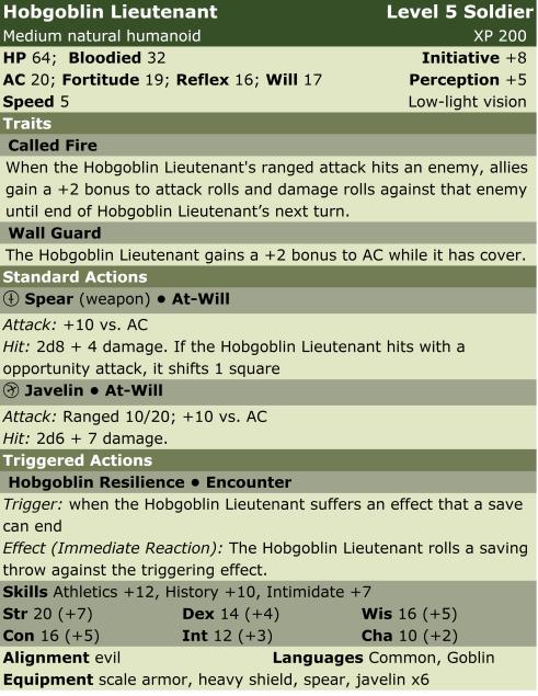 Hobgoblin lieutenant  sol5  lp