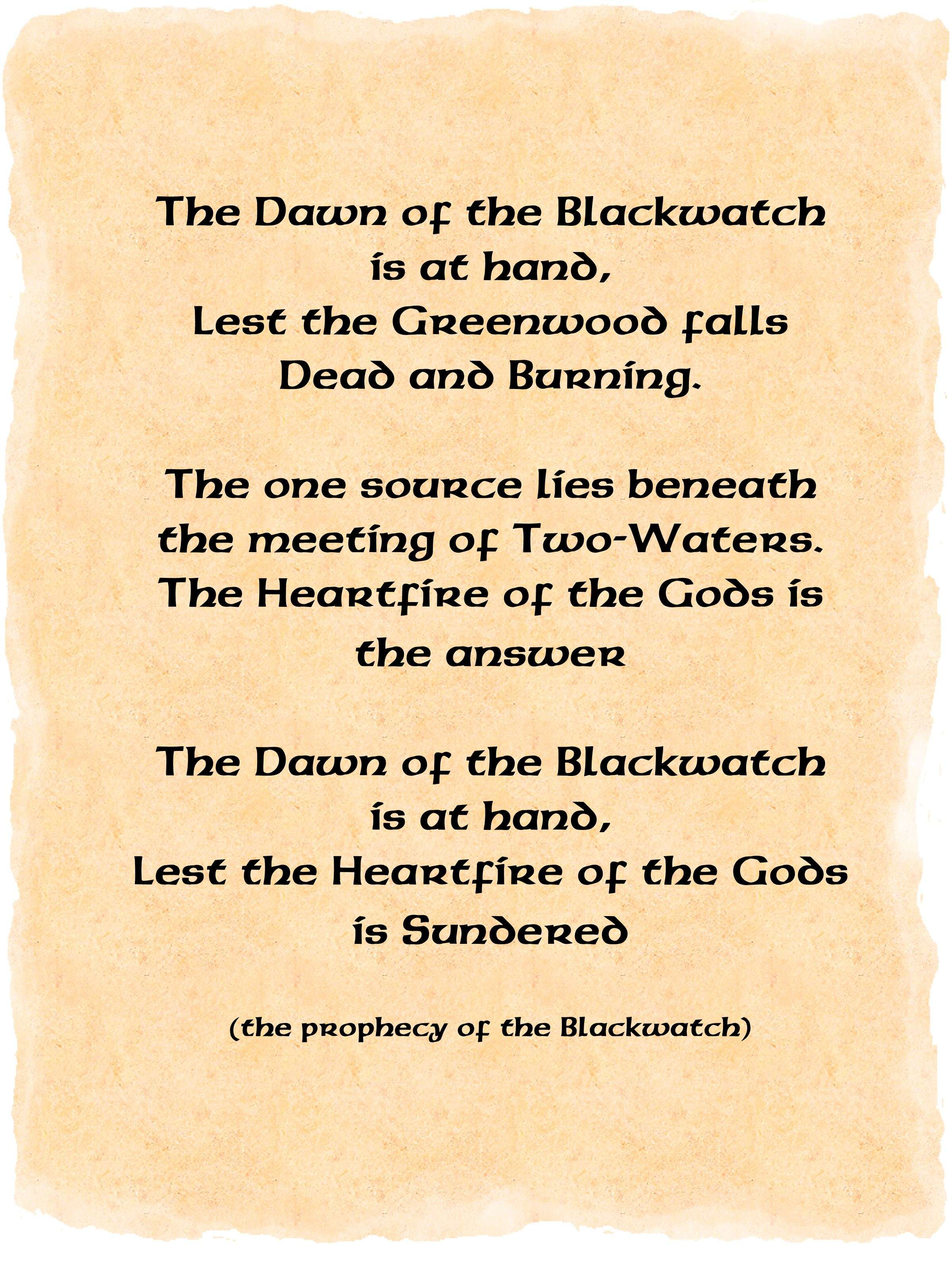 Prophecy of the blackwatch