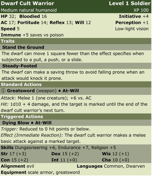 Dwarf cult warrior  sol1  lp