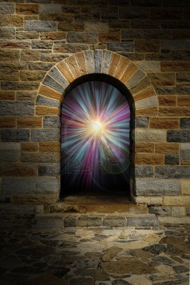 16146162 magical blue and purple vortex in a stone arch doorway