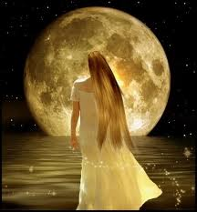 Full moon woman water