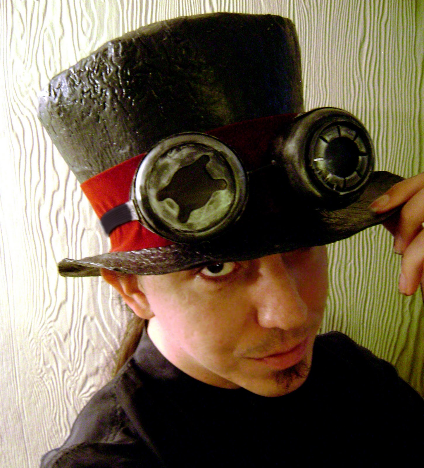 Steampunk mad hatter fashion top hat w goggles 07 professor ca t pardus
