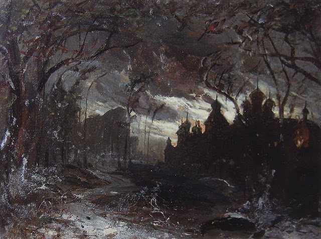 Ipatiev monastery in the winter night   aleksey savrasov  1870
