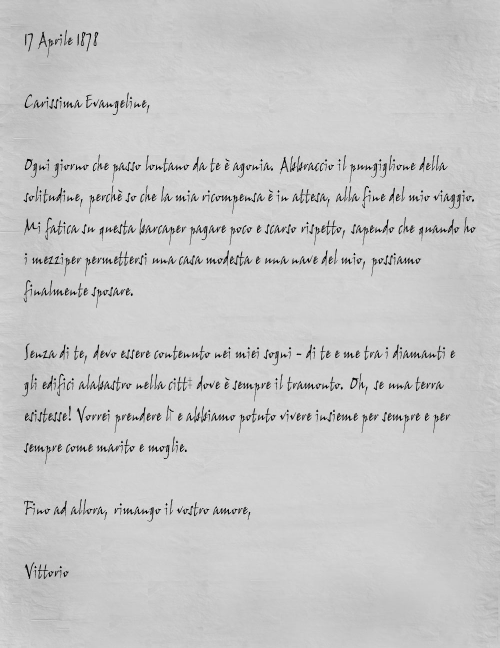 Vittorio letter italian