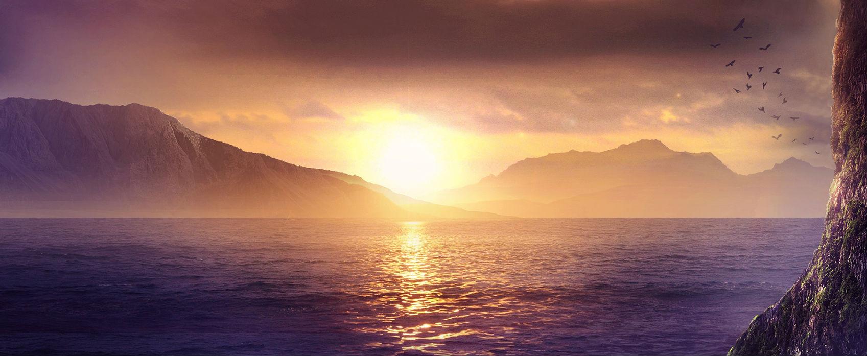 Fantasy ocean sunset