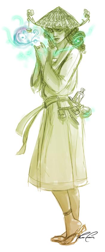 A summer elf wizard dabbles with spirit magic