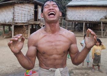 Stone shirtless man
