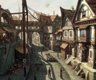 Paintings cityscapes buildings artwork medieval desktop 1730x1050 hd wallpaper 942238