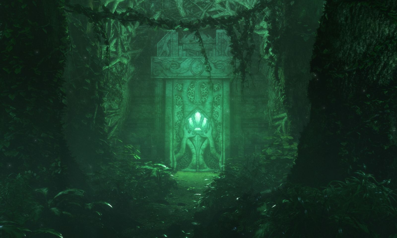 1600x960 14580 old temple 3d fantasy forest temple picture image digital art