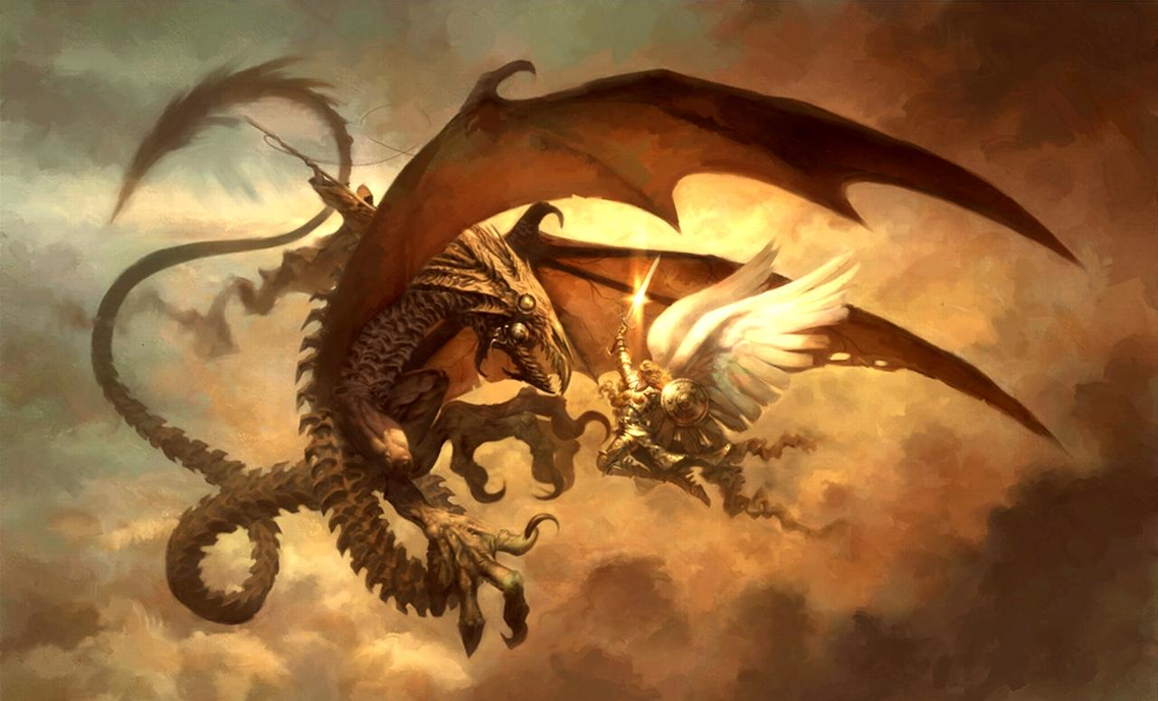 17763 fantasy dragon monster dragon fight