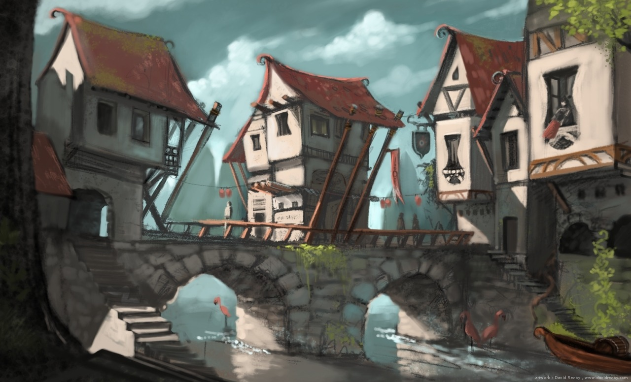 Bridge medieval fantasy city