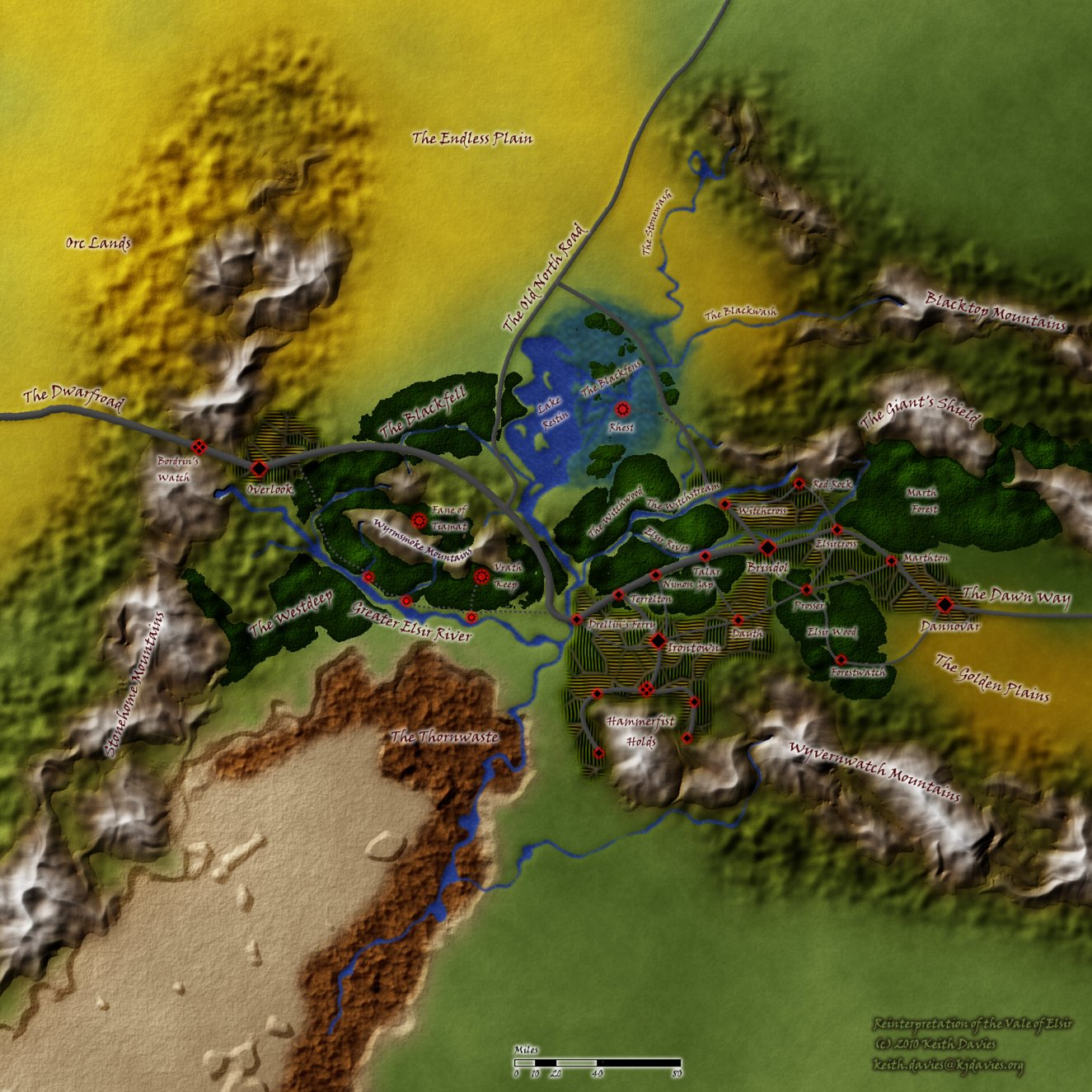 Map of Elsir Vale (c) 2010 Keith Davies, Used with Permission