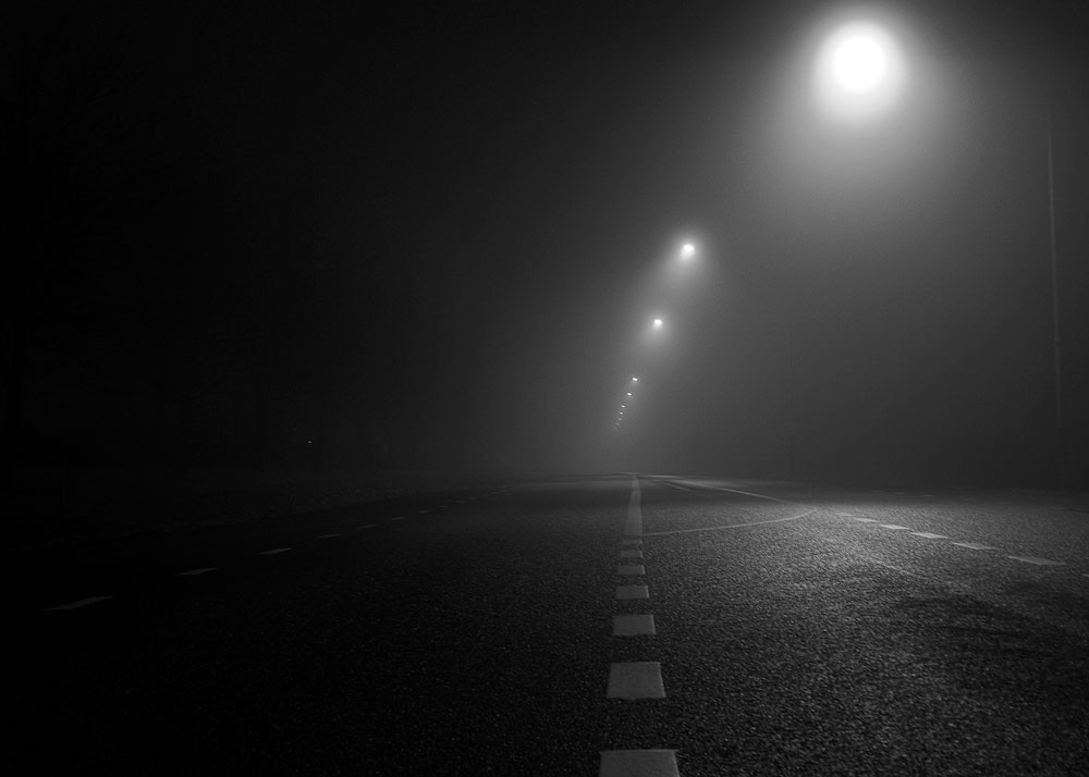 Dark and foggy street