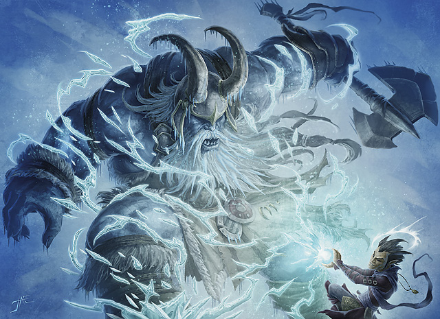 Gnome fighting a ice giant