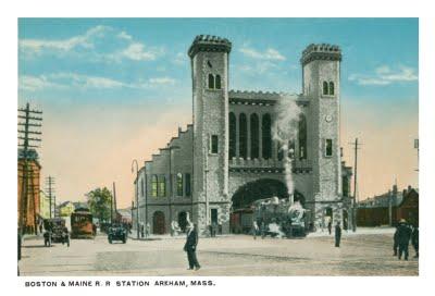 Arkham train station postcard front