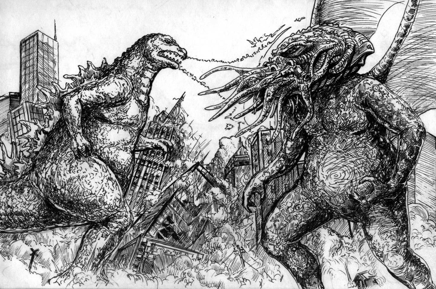 Godzilla vs  cthulhu by aquilianranger