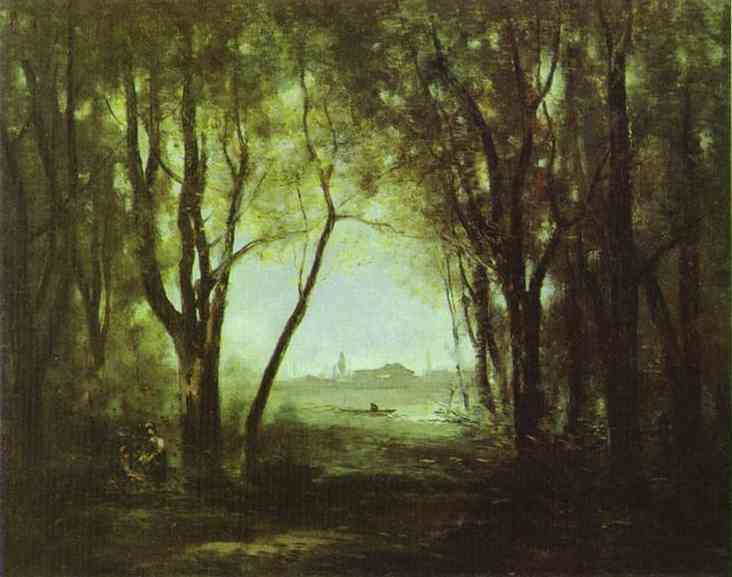 Corot landscape with a lake  ca.1865  the hermitage mus
