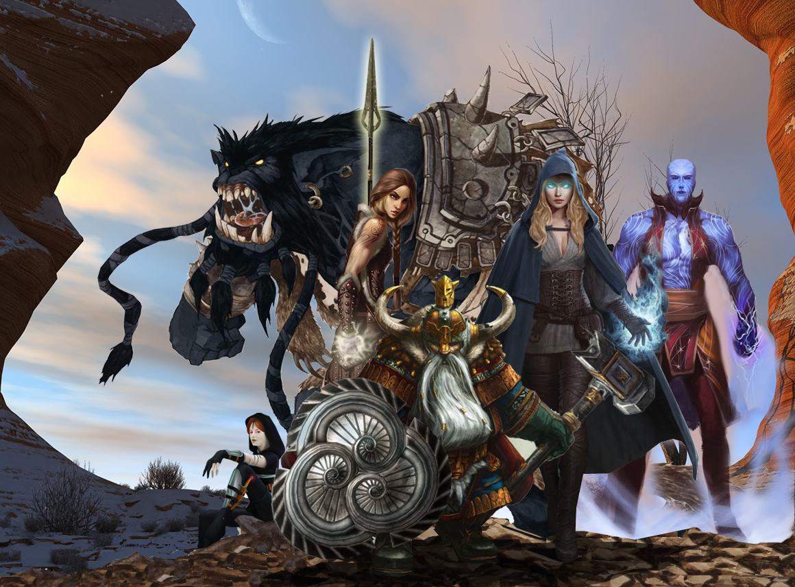 Left to right: Kat, Roaka, Sunsetmoon, Mordin, Caelynna, Ahn