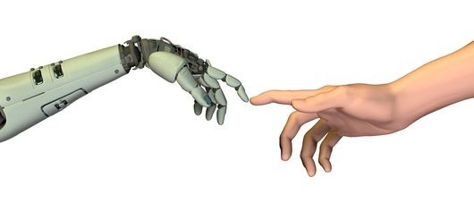Robot human hands touching