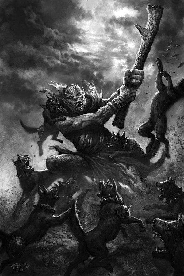 Troll vs wild goblin dogs by targete d3c030g