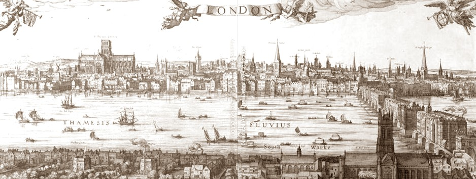 Panorama of london and the thames  parts 2 3  c.1600 sepia