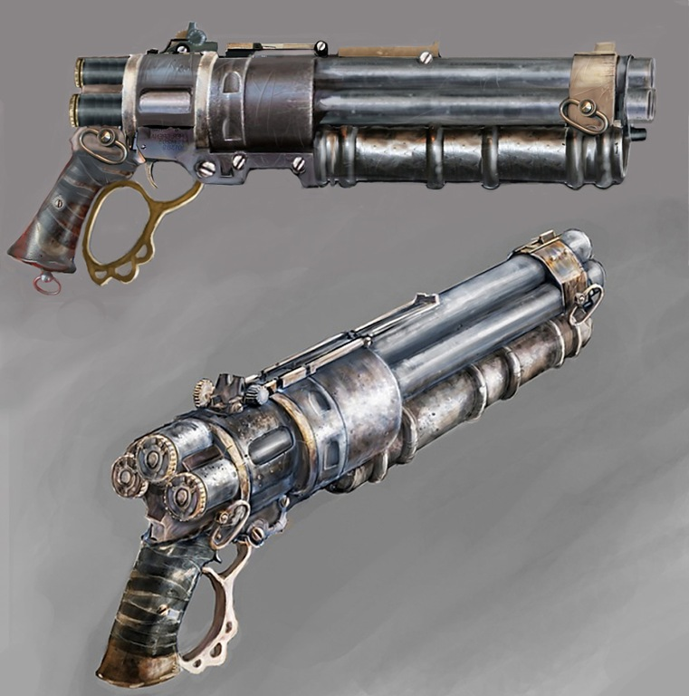 Steampunk shotgun by avenger09